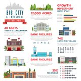 Infographic Big city & Invesment Stock Images