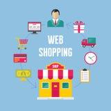 Infographic Biznesowy pojęcie - sieć Online zakupy Zdjęcia Stock
