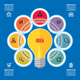 Infographic biznesowy pojęcie wektorowa żółta lampa i barwiący okręgi z ikonami - kreatywnie pomysł ilustracja - Zdjęcia Royalty Free