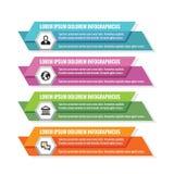 Infographic biznesowy pojęcie - barwioni horyzontalni wektorowi sztandary Infographic Szablon cztery elementy projektu tła snowfi Fotografia Royalty Free