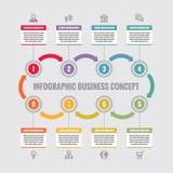Infographic biznesowy pojęcie - kreatywnie wektorowy układ z ikonami Okręgi i strzała Cykl infographic Projekta infographics Obrazy Royalty Free