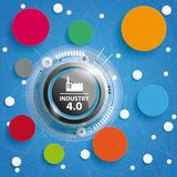 Industry 4.0 Circle Networks Blue Background Royalty Free Stock Photo
