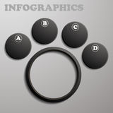 Infographic black in the form of tabs and sub-para vector illustration