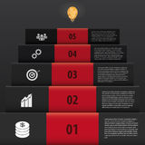 Infographic black stairs style. step up business Stock Photography