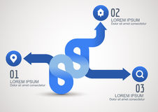 Infographic blue arrows with icons, vector background template Royalty Free Stock Images