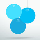 Infographic 3 Blue 3d Hanging Text Circles Vector. 1 to 3 numbered hanging overlapping circle sign steps with space for text and editable transparent Drop stock illustration
