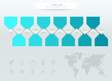 Infographic Blue Timeline With 12 Months Of The Year. Vector blue paper banners with numbers 1 to 10 and arrows pointing to a blank space for text with realistic Royalty Free Stock Photography