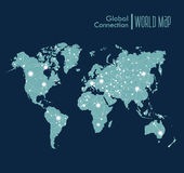 Infographic blue World Map symbol with global netw Royalty Free Stock Photography
