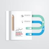 Infographic bok som är öppen med mallen för bokmärkebegreppsaffär Royaltyfri Foto