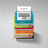 Infographic books step with doodles line drawing and notebook. Idea. Vector illustration.success concept.can be used for layout, banner and web design Royalty Free Stock Photos