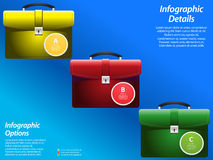 Infographic with briefcase on blue background Stock Image