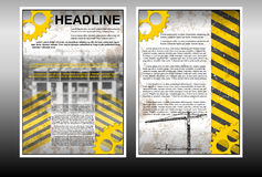Infographic brochure template with building under construction Royalty Free Stock Photography