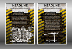 Infographic brochure template building under construction Royalty Free Stock Photography