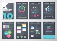Infographic Broschüren des schwarzen Hintergrundes und flache bunte Art Lizenzfreies Stockfoto