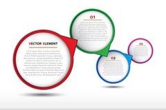 Infographic bubblaetikett för idérikt arbete Arkivfoto