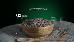 Infographic of Buckwheat with vitamins, microelements minerals. Energy, calorie and component stock footage