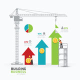 Infographic business arrow graph template design.building to suc Royalty Free Stock Photos