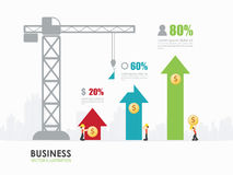 Infographic business arrow graph template design. Workers construct arrow graph building stock illustration