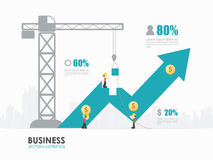 Infographic business arrow shape template design. Infographic business. Workers construct arrow shape building Stock Photos