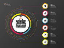 Infographic. Business bag. Colorful circle with icons. Vector.  royalty free illustration