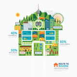 Infographic business building house shape template design.route stock illustration