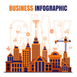 Infographic Business city design vector on black background Stock Image