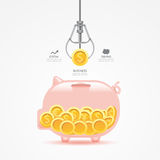 Infographic business claw game with coin piggy bank Royalty Free Stock Images