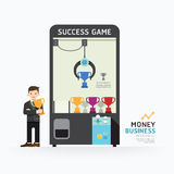 Infographic business claw game template design. How to success c Royalty Free Stock Image