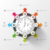 Infographic. Business Clock. Colorful circle with icons. Vector Stock Photos