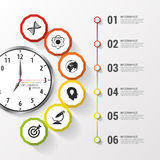 Infographic. Business Clock. Colorful Circle With Icons. Vector Illustration Stock Photography
