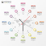 Infographic. Business Clock. Colorful circle with icons. Vector. Illustration stock illustration