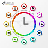 Infographic. Business Clock. Colorful circle with icons. Vector Royalty Free Stock Photography