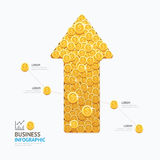 Infographic business coins arrow shape template design. success Royalty Free Stock Photos