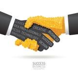 Infographic business coins handshake shape template design. succ Stock Photo