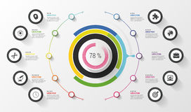 Infographic. Business concept. Colorful circle with icons. Vector illustration Stock Photos