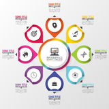Infographic. Business concept. Colorful circle with icons. Vector illustration Stock Photo