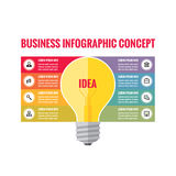 Infographic business concept - creative idea illustration - vector yellow lamp and colored stripes with icons. Royalty Free Stock Photography