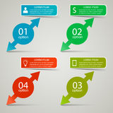 Infographic business concept. Four cirles with arrows and infographic text banner above them Royalty Free Stock Image