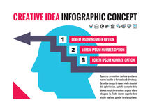 Infographic business concept layout for presentation - human head with icons - numbered banners. Number option creative . Royalty Free Stock Photo