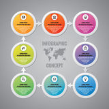 Infographic business concept - vector layout. Circles, arrows, icons and world map. Infographics design elements.  Royalty Free Stock Images