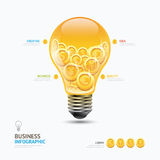 Infographic business currency money coins light bulb shape templ Stock Photos