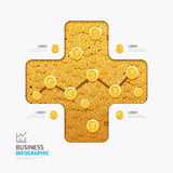 Infographic business currency money coins plus shape template design Stock Image