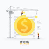 Infographic business dollar coin shape template design.building Stock Images