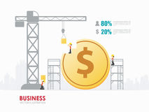Infographic business dollar coin shape template design. Infographic Template with crane and money building royalty free illustration