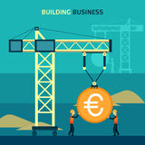 Infographic business euro coin shape template Stock Image