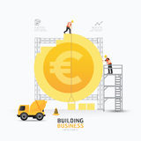 Infographic business euro coin shape template design.building to Stock Images