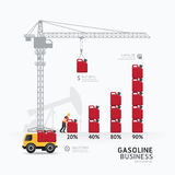 Infographic business gasoline graph template design. building to Royalty Free Stock Images