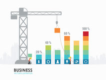 Infographic business graph template design. Workers construct bar chart by crane. Infographic template royalty free illustration