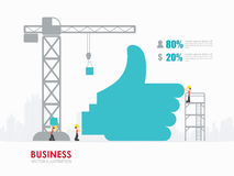 Infographic business hand like symbol shape template design. Infographic Template with crane and hand like symbol building royalty free illustration