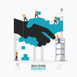 Infographic business handshake shape template design.building to Stock Images